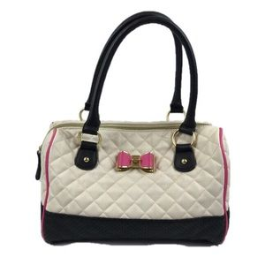 Betsey Johnson White Quilted Hand Bag Satchel